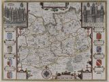 Surrey On A Map Of England John Speed Map Of Surrey England Surrey Described and