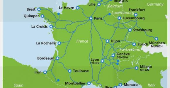 Tgv Routes France Map Map Of Tgv Train Routes and Destinations In France