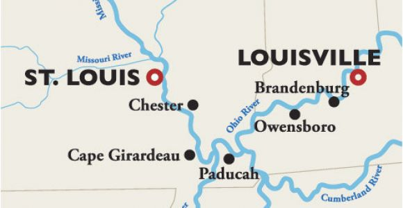 The Ohio River Map Ohio River Meets Mississippi River Map Louisville to St Louis River