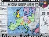 The Reformation Religious Map Of Europe 1600 Protestant Reformation Map Activity Crosscurricular