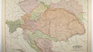 Transylvania Europe Map Vintage Large Map Austria Hungary Map 1896 Antique Map