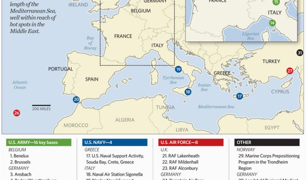 Us Air force Bases In Italy Map Us Military Bases In Germany Map Us ...