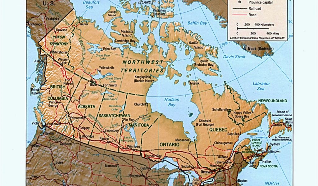 Us and Canada Physical Features Map Map Of Canada Canada Map ...