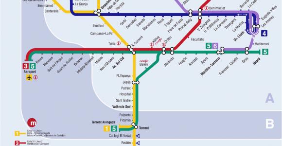 Valencia Spain Metro Map Valencia Metro Map Map Of the Underground System In Valencia Spain