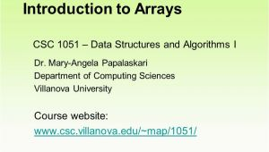 Villanova Italy Map Csc 1051 Data Structures and Algorithms I Dr Mary Angela