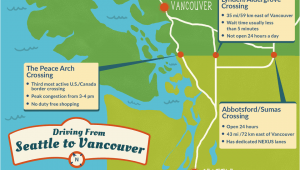 Washington Canada Border Map Seattle to Vancouver Canadian Border Crossing