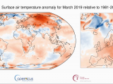 Weather Temperature Map Europe Surface Air Temperature for March 2019 Copernicus