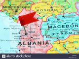 Where is Albania Located On A Map Of Europe Tirane Pinned On A Map Of Europe Stock Photo 85124482 Alamy