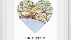 Where is Brighton England On the Map Brighton Map Heart Print Brighton Map Art Sussex Map